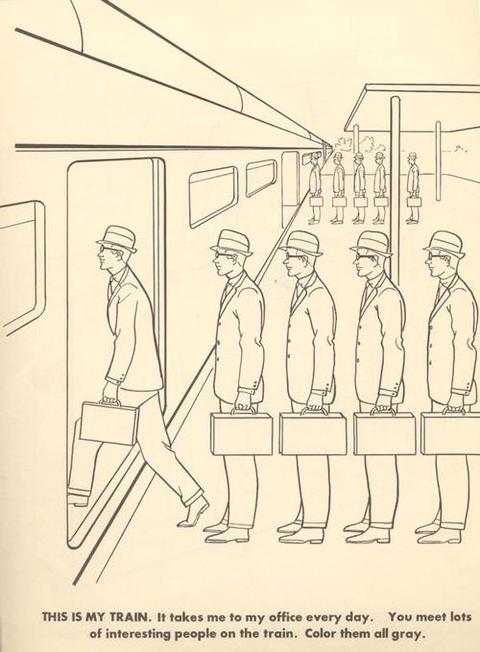 """From """"The Executive Coloring Book""""by Marcie Hans, Dennis Altman & Martin A. Cohen, 1961"""