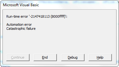 Visual Basic Catastrophic Failure