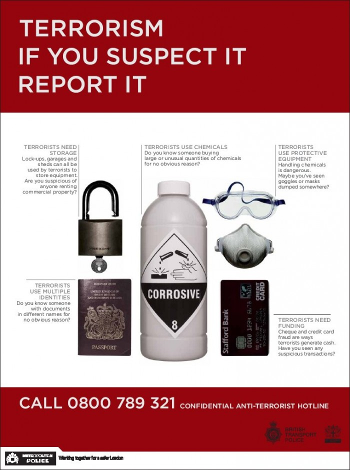 Terrorism - if you suspect it report it!