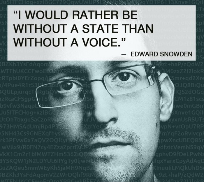 I would rather be without a state than without a voice. -Edward Snowden