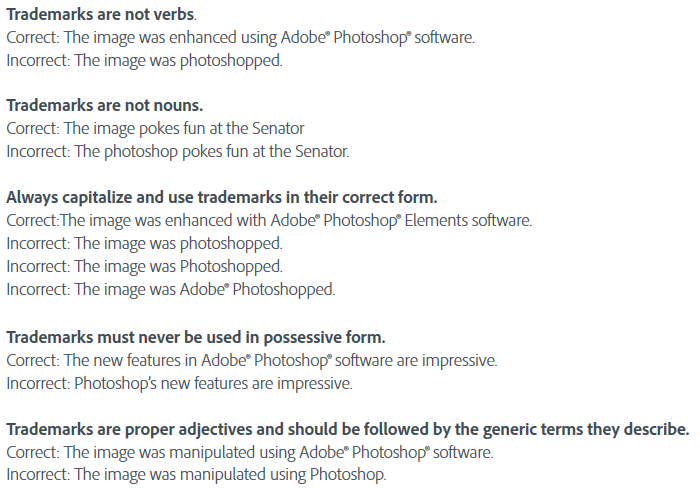 adobe is all pissy about people using photoshop as a verb